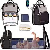 Manrany 3 in 1 Diaper Bag Backpack with Changing Station, Travel Bassinet Foldable Baby Bed, Portable Crib, Mummy Bag, Large Capacity, Waterproof, Multi-Functional Baby Travel Bag (Black Gray-New)