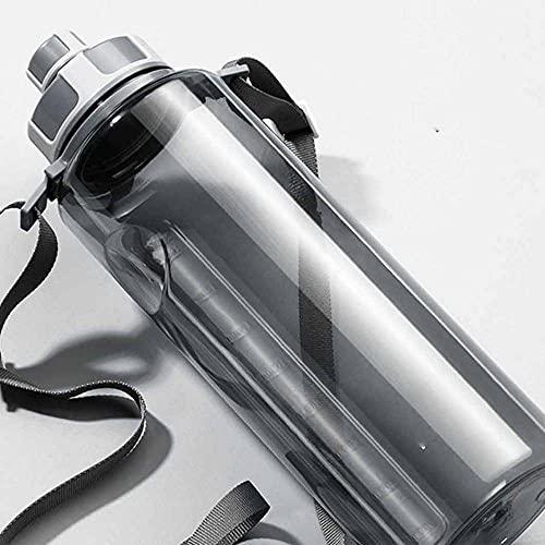 ZZGWJ Gran Capacidad Copa de Agua plástica Masculina Botella de Agua portátil Fitness Verano Deportes al Aire Libre Grande Botella de Agua-Gris_1000ml