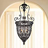 French Scroll Rubbed Bronze Foyer Chandelier 22 1/2' Wide Rustic...