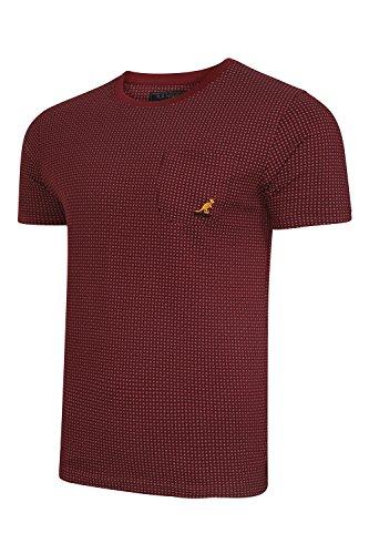 Kangol Herren-T-Shirt mit Brusttasche, Rundhalsausschnitt, kurzärmelig, erhältlich in den Größen S – XXL Gr. L, mahagoni