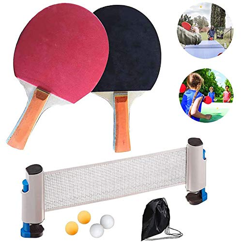 Lowest Price! BeAUZQ All-in-One Ping Pong Paddle Set, Portable Table Tennis Set with Net for Table, ...
