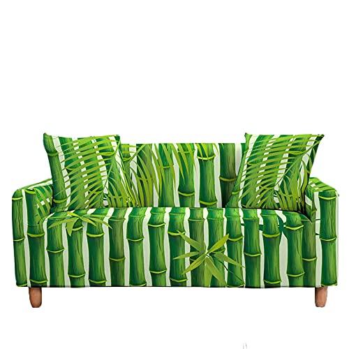 Meiju Fundas de Sofá Elasticas Ajustables de 1 2 3 4 Plazas Impresión Bambú Universal Antideslizante Cubierta de Sofá Funda Cubre Sofas Furniture Protector (Hoja,1 Plaza - 90-140cm)