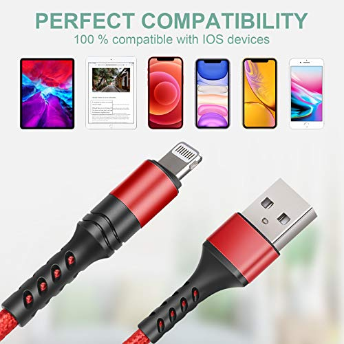 LTDNB iPhone Ladekabel [3 Stück 1M 1M 2M] Lightning Kabel für iPhone XS/XS Max/XR/X/ 8/8 Plus/SE/ 7/7 Plus/ 6s/ 6/6 Plus/ 5S/ 5/ iPad Pro