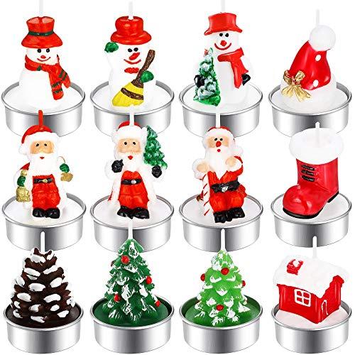 12 Pezzi Candele Tealight di Natale Delicato Babbo Natale Fatto a Mano, Pupazzo di Neve, Pigne, Albero di Natale, Casa, Scarpe, Candele Cappelli di Babbo Natale, Decorazioni Natalizie per Casa