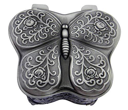 Happy Homewares Hermoso joyero Antiguo Plateado en Peltre de Metal con Forma de Mariposa y Fieltro