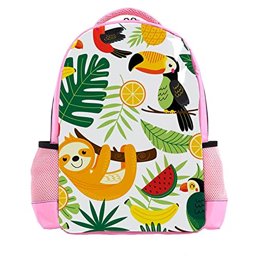 Girl Pink Backpack Women Shoulder Bags College Bookbag Travel Rucksack Tropical Animal Palm Sloth Toucan Birds