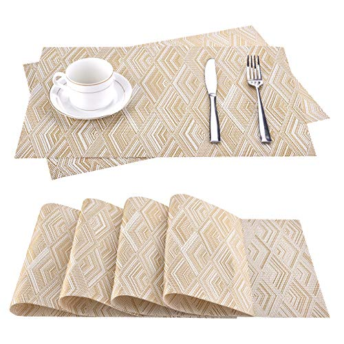 moonlux Platzdeckchen Abwaschbar 6er Set, Tischsets Abgrifffeste Hitzebeständig PVC Platzsets für Küche Speisetisch, 30x45cm