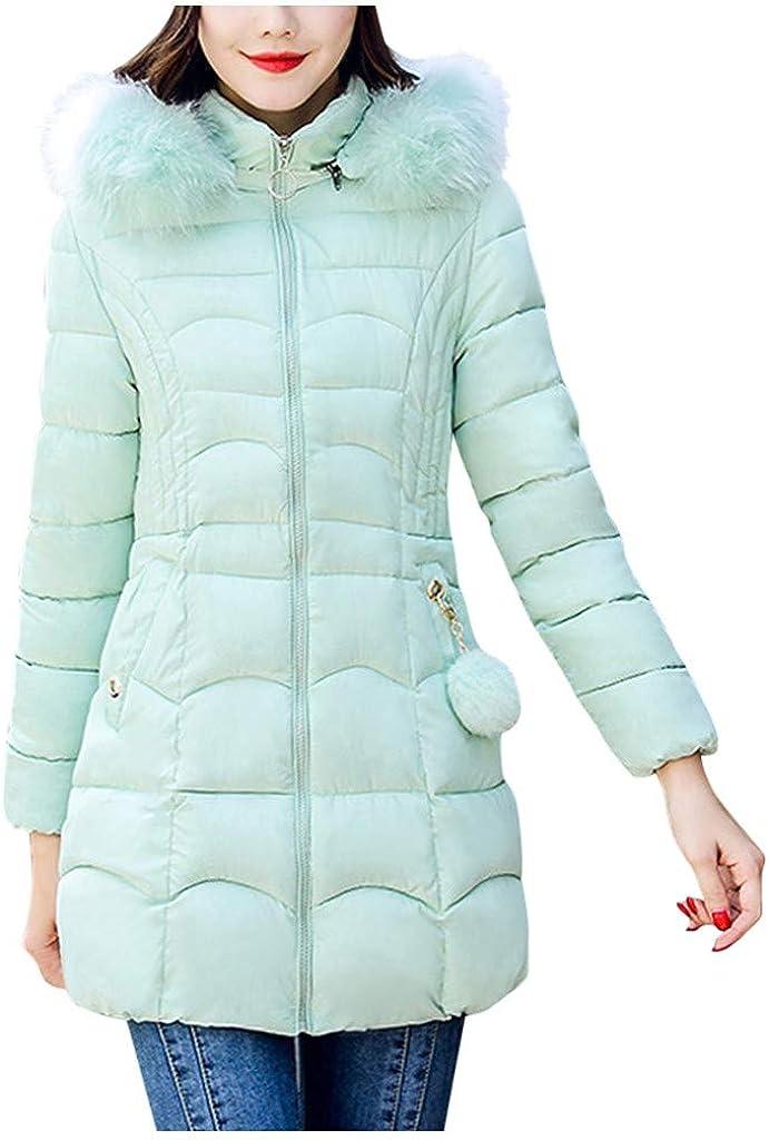 VEZAD Store Women's Down Coat Hood Thicker Slim Down Lammy Outwear Long Parka Puffer Jacket
