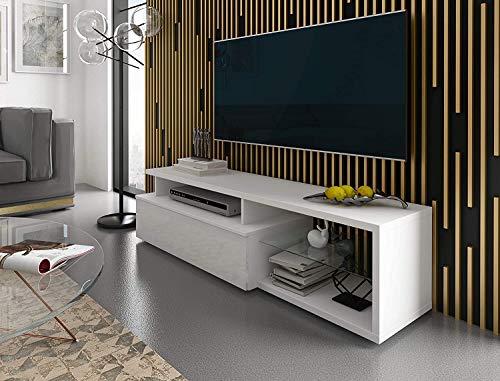 Mobiletto TV Mobile da Sala da Pranzo Soggiorno Salotto Studio Design Hannover Elegante E Moderno con 3 Vani a Giorno, Anta E Mensola in Vetro Design 160 x 40 x 38 cm Bianco Lucido Laccato