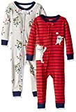 Carter's Baby Boys 2-Pack Cotton Footless Pajamas, Karate/Monster, 12 Months