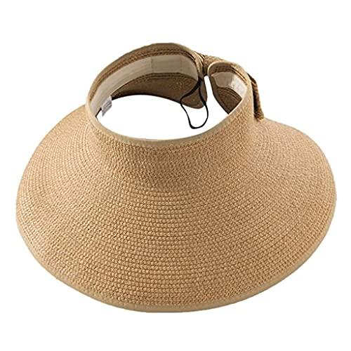 RYDQH Primavera y Verano Moda Sombreros Ancho Roll-up Paja Sol Visera Sombrero Bowknot Sombrero Playa al Aire Libre Sombrero Mujeres Cola de Caballo enrollar un Sombrero de Sol (Color : Style Two)