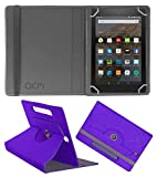 Acm Designer Rotating Leather Flip Case Compatible with Kindle All Fire Hd 8 Cover Stand Purple