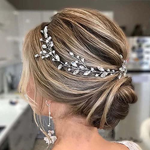 Handcess Braut Hochzeit Stirnband Kristall Silber Blätter Braut Haarschmuck Strass Kopfschmuck für Braut und Brautjungfern