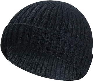 ASHILISIA Wool Knit Trawler Beanie Hat, Short Fisherman Skullcap Knit Cuff Beanie Cap for Men/Women Daily Wearing