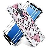 Haikingmoon Funda Compatible con Samsung Galaxy S9 Plus Motivo de Mármol + 2 Pack Cristal Protector de Pantalla,Carcasa de Silicona Líquida Ultra Delgado Anti-Rasguño Protectora,Rosa Blanco