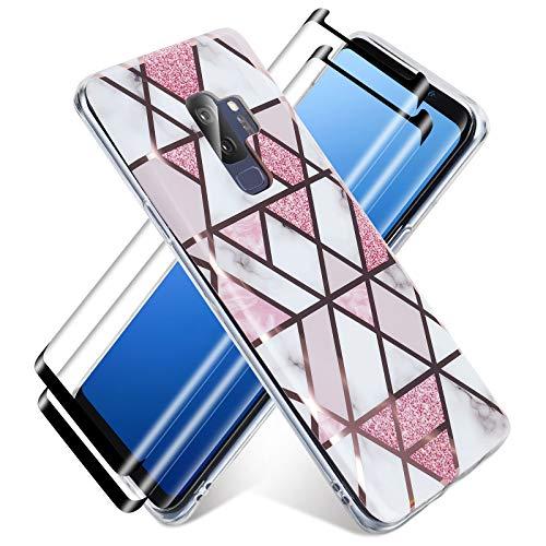 Haikingmoon Cover Compatibile con Samsung Galaxy S9 Marmo Motivo + [2 Pack Pellicola Protettiva in Vetro Temperato] Liquido Silicone Sottile Morbida Copertura Gomma Gel Custodia,Bianco Rosa