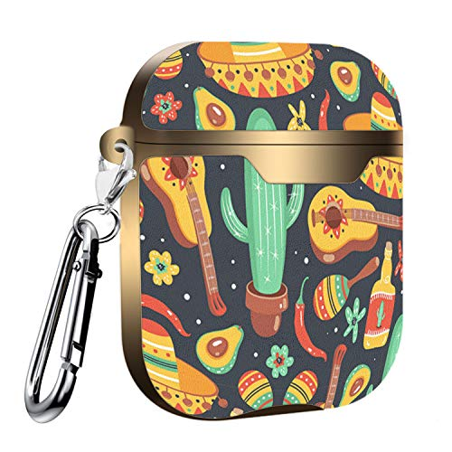 Slim Form Fitted Printing Pattern Cover Case with Carabiner Compatible with Airpods 1 and AirPods 2 / Mexican Culture Symbols Guitar, Sombrero, Maracas, Cactus, Jalapeno and Tequila
