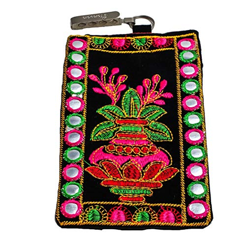 Divine Products India Indian Handmade,Cotton Velvet Pouch, Money Pouch, Mobile Pouch,YKK Zip,Vintage Zari Mirror Embroidered Women Purse for Gifting and Self Use