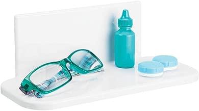 mDesign Estante de baño Autoadhesivo de plástico sin BPA – Estantería de Ducha pequeña para el Espejo del baño – Balda de baño para cepillos de Dientes, Maquillaje o cosméticos – Blanco