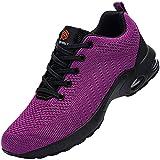 Zapatos de Seguridad Mujer,Zapatillas de Seguridad Zapatos de Trabajo Calzado de Trabajo con Punta de Acero Ligeros(Compota de UVA,37.5)