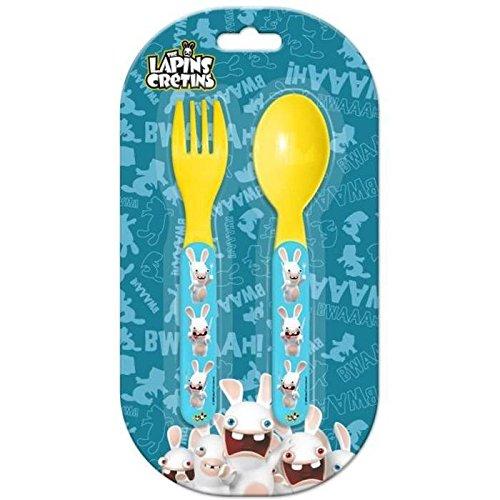 Set de couverts Plastique pour enfant Lapins Cretins - Fourchette Couteau Repas Bebe - 597