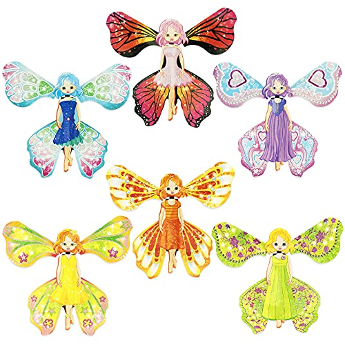 6 Pieces Magic Fairy Flying Butterfly Rubber Band Powered Butterfly Wind up Butterfly Toy for Surprise Gift or Birthday Anniversary Wedding Christmas Surprise Gift