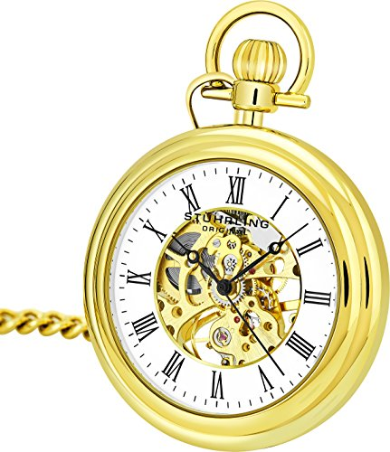 Stuhrling Original Mens Vintage Mechanical Pocket Watch - Stainless Steel Pocket Watch with Chain Analog Skeleton Watch Hand Wind Mechanical Watch with Clip and Stainless Steel Chain (Gold)