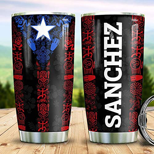 Personalized Name Puerto Rico Star Stainless Steel Tumbler 20 Oz & 30 Oz Vacuum Insulated Travel Mug with Lid, Insulated Coffee Cup, for Home, Outdoor, Office, School, Ice Drink, Hot Drink