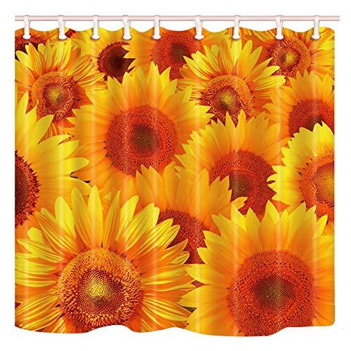 Shocur Sonnenblumen-Duschvorhang, hübsche gelbe Sonnenblumen, Frühling, rustikale Landhauspflanze, 182,9 x 182,9 cm Naturthema, Badevorhang, Polyesterstoff, Badezimmer-Dekorationsset mit 12 Haken
