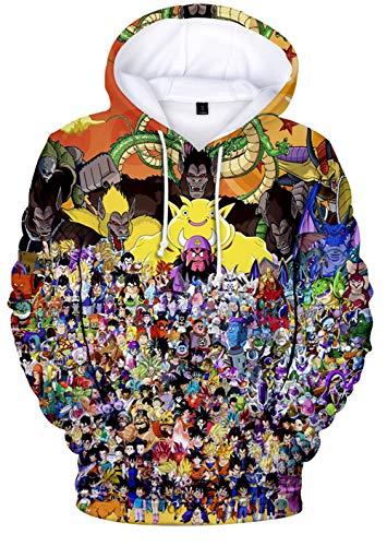 HAOSHENG Niños Sudadera con Capucha Anime Dragon Ball con Impresión Digital Manga Larga Cosplay Sudaderas para Hombre(S)