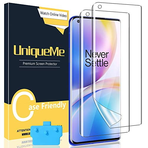 [2 Stück] UniqueMe Schutzfolie Kompatibel mit Oneplus 9 Pro, Blasenfreie [Klar HD] Folie TPU Bildschirmschutz Fingerabdruck-ID unterstützen [Soft] Oneplus 9 Pro Bildschirmfolie