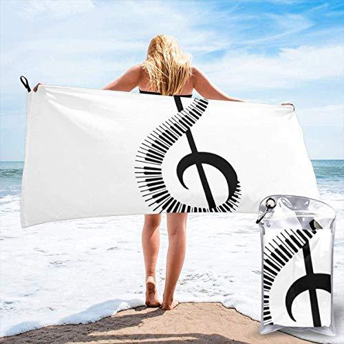 N/A Treble Clef Teken Met Piano Toetsenbord Strand Sneldrogende Handdoek Microvezel Yoga Fitness Absorberende Handdoek Outdoor Klimmen Sneldrogende Handdoek