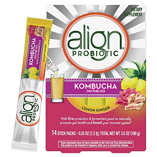 Align Probiotic, Kombucha On-the-Go, Live Probiotics with Fermented Yeast to promote gut health and boost immunity, Lemon Ginger Flavor, 14 Stick Packs
