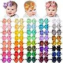 40-Piece Elastic Nylon Baby Hair Bows Headbands