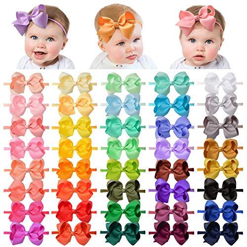 40 Pieces Baby Headbands Elastic Nylon Hairband Grosgrain Ribbon Hair Bows Handmade Hair Accessories for Newborn Infant Toddler Girl Kids