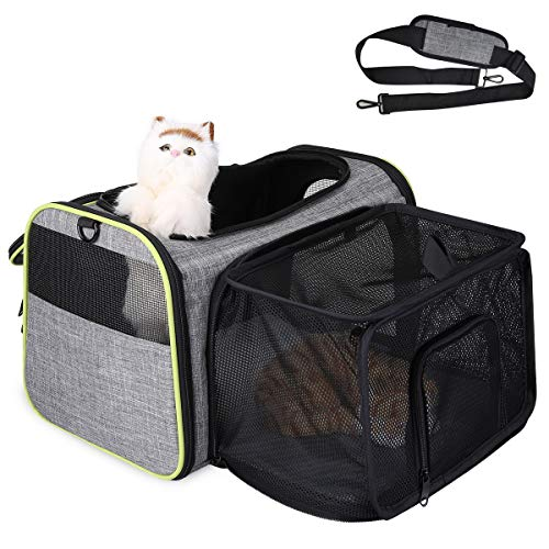 TAMOWA Transportbox Katze Transportbox Hund Faltbare Hundetragetasche, Faltbare Katzentragetasche mit Schultergurt, Transporttasche von Haustiere Hund & Katze im Auto oder in der Flugzeug, Grau