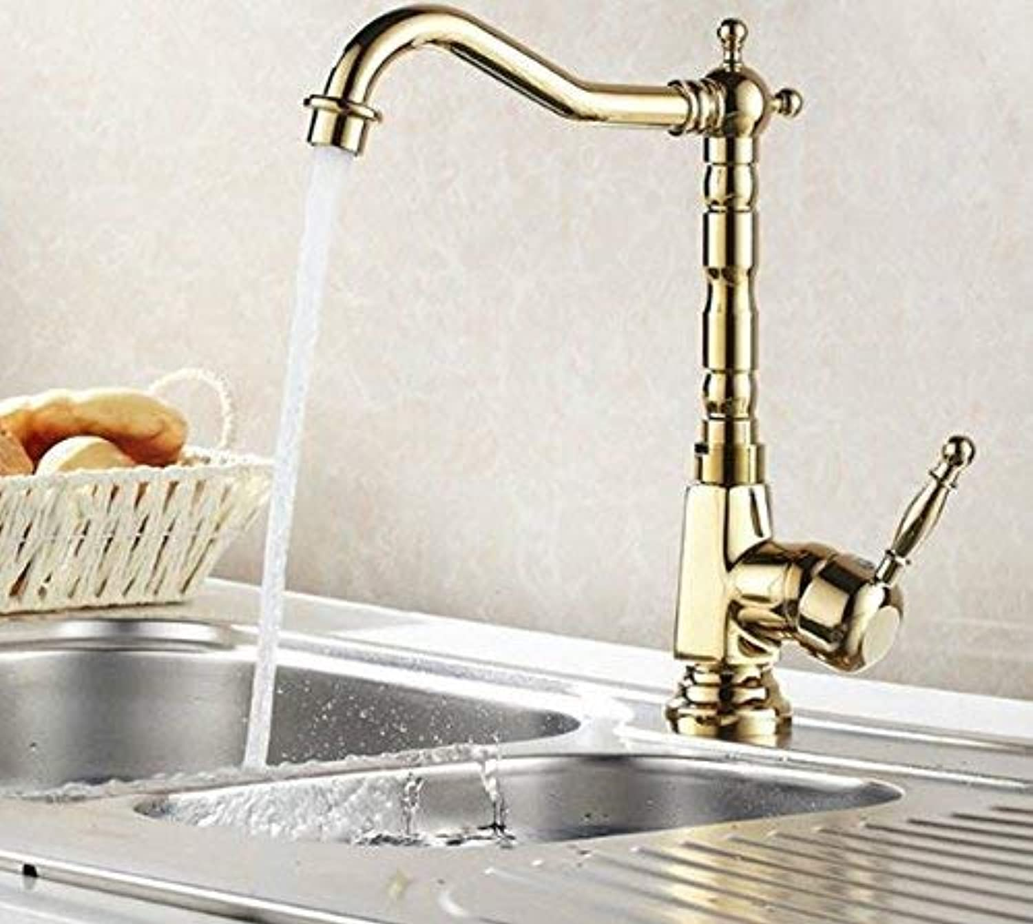 Oudan New gold Hot Cold Mixer Water Tap Kitchen Bathroom Wash Basin Sink Faucet 8105K (color   -, Size   -)