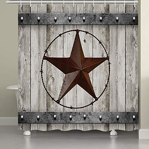 JAWO Rustic Wood Door with Southwestern Texas Star Shower...