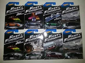 2014 Hot Wheels Fast & Furious Complete Set of 8 - '70 Charger R/T, Toyota Supra, Nissan Skyline GT-R, '67 Ford Mustang, '72 Ford Gran Torino, '08 Dodge Challenger, '11 Charger, '69 Daytona