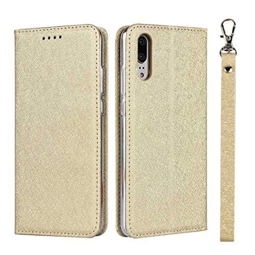 GIMTON Huawei P20 Hülle, Brieftasche Hülle mit Klapp Ständer und Magnet Verschluss für Huawei P20, Stoßfest Kratzfestes PU Leder Schutzhülle, Gold