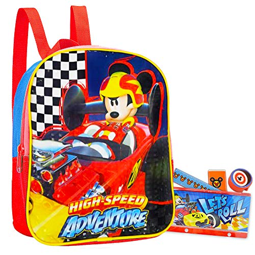"""Disney Mickey Mouse Preschool Backpack Toddler (11"""") Bundle with Mickey School Supplies"""