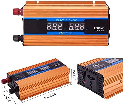 Inversor de corriente para automóvil, 600W - 2600W 12V 24V 48V 60V 72V a CA 220V Inversor de onda sinusoidal modificada de potencia continua Cargador de automóvil, Inversor automático Camping durader