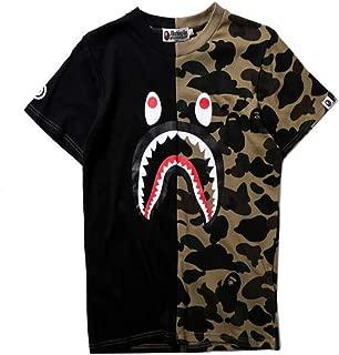 Fashion Bape Colorblock Printed Loose Casual T Shirt for Men/Women
