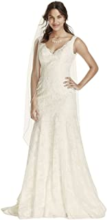 Sample: As-is Lace Wedding Dress with Scalloped V-Neck Style AI12030051