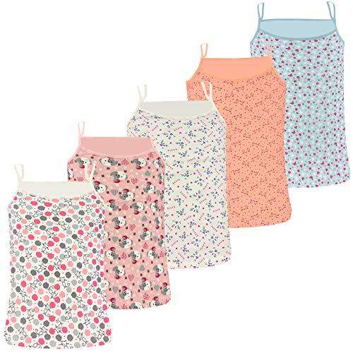 PiriModa Camiseta Interior de Tirantes Finos para niña - Hecha de algodón Suave y cómodo - Pack de 5 Unidades - Modelo 8-10-11 años