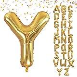 VCOSTORE Globo gigante con letras doradas, 100 cm, diseño de helio con letras doradas (incluye pajita)