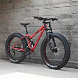 GASLIKE 26 Inch Mens Fat Tire Mountain Bike, Beach Snow Bikes, Double Disc Brake Cruiser Bicycle, Lightweight High-Carbon Steel Frame, Aluminum Alloy Wheels,Red,27 speed