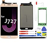 LCD Screen Replacement for Samsung Galaxy J7 J727 5.5' Touch Digitizer Display Assembly 2017 Prime Halo SM-J727 J727P J727U J727T J727T1 J727R4 J727V Sky Pro S727VL S737TL SM-J727A (Gold)