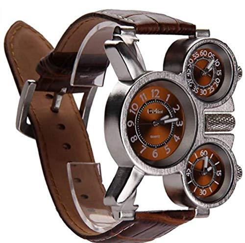 Kacniohen Multifuncionales Reloj de los Hombres Tres diales analógicos Manos Luminosas y Cuero cómodo de la Correa Diseño Multi-Zona de Tiempo del Reloj