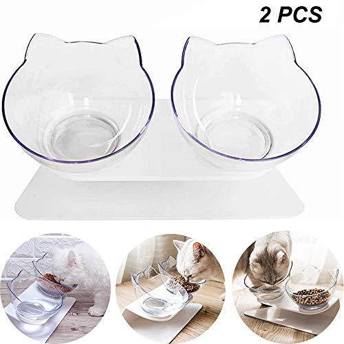 15° gekantelde kattenvoerbak, antislip- en morsbestendige kattenvoerbak, transparante verhoogde standaard dubbele kattenbak voor katten (2PCS)